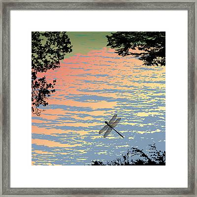 Dragonfly By The Lake Framed Print by Marian Federspiel
