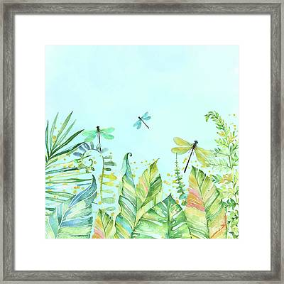 Dragonfly Garden Tropical Jungle Plants Dragonflies Framed Print
