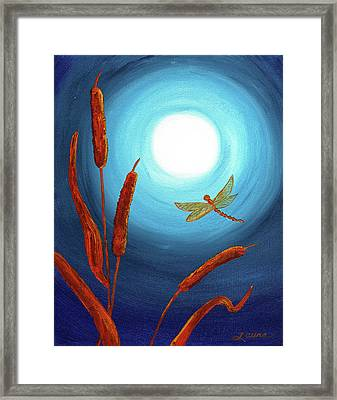 Dragonfly In Teal Moonlight Framed Print by Laura Iverson