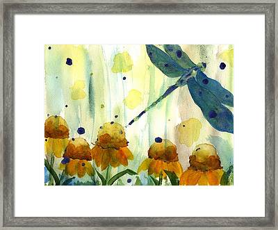 Dragonfly In The Wildflowers Framed Print
