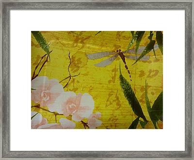 Dragonfly N Roses Framed Print