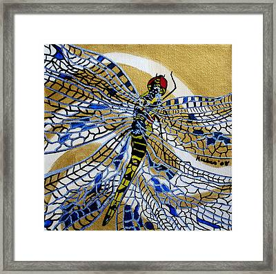 Dragonfly On Gold Scarf Framed Print by Susan Kubes