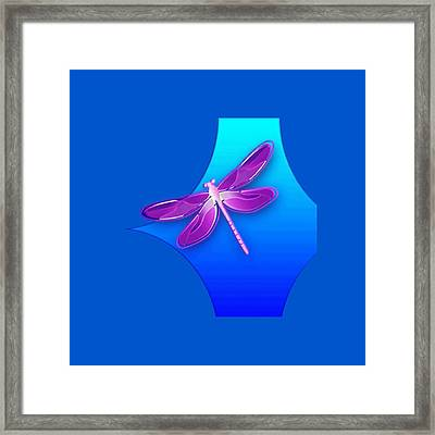 Dragonfly Pink On Blue Framed Print