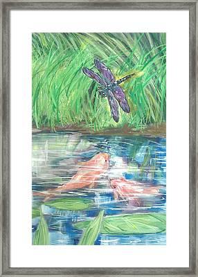 Dragonfly Pond Framed Print by Linda Crockett