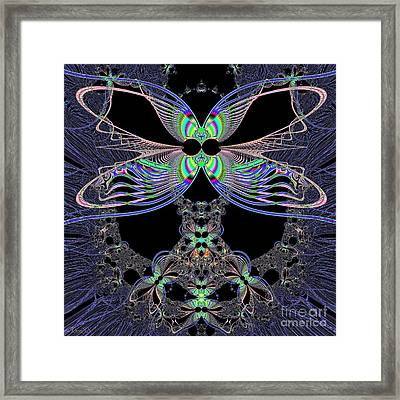Dragonfly Queen At Midnight Fractal 161 Framed Print by Rose Santuci-Sofranko