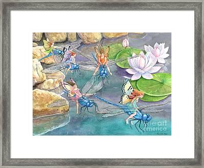 Dragonfly Races Framed Print by Ann Gates Fiser