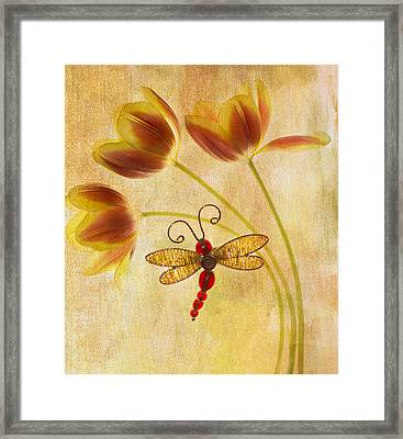 Dragonfly Tulips Framed Print by Rebecca Cozart