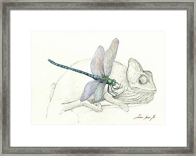 Dragonfly With Chameleon Framed Print