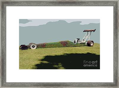 Framed Print featuring the photograph Dragster Flower Bed by Bill Thomson