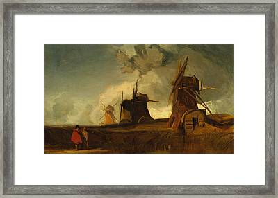 Drainage Mills In The Fens, Croyland, Lincolnshire Framed Print by John Sell Cotman