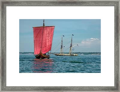 Draken Harald Harfage And Us Brig Niagara Framed Print