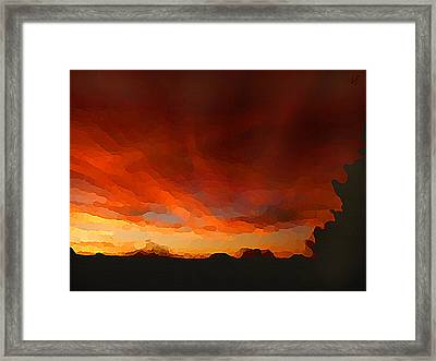 Framed Print featuring the digital art Drama At Sunrise by Shelli Fitzpatrick
