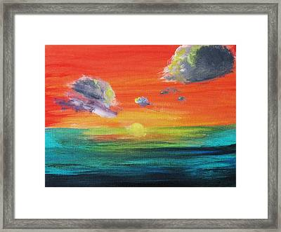 Framed Print featuring the painting Drama In The Skies by Trilby Cole