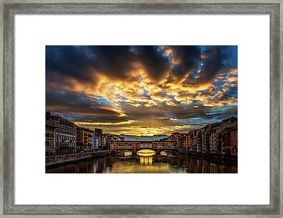 Drama Over Ponte Vecchio Framed Print by Andrew Soundarajan