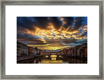 Drama Over Ponte Vecchio Framed Print