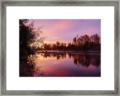 Dramatic Autumn Sunrise Along Boise River Boise Idaho Framed Print