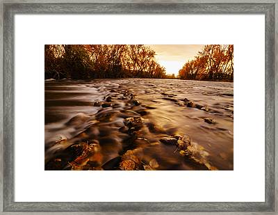 Dramatic Autumn Sunrise Along Boise River In Boise Idaho Framed Print
