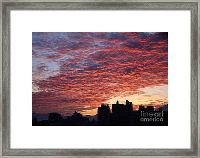 Framed Print featuring the photograph Dramatic City Sunrise by Yali Shi