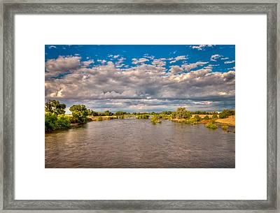 Dramatic Clouds And Kern River Framed Print