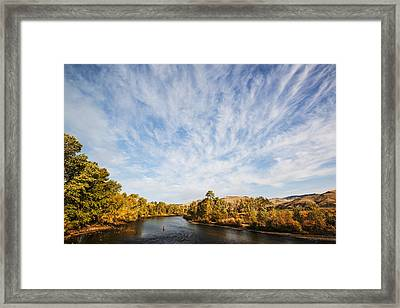 Dramatic Clouds Over Boise River In Boise Idaho Framed Print