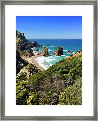 Dramatic Coastline And Beach - Portugal Framed Print by Connie Sue White