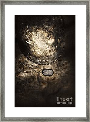 Dramatic Dog Tags And Military Helmet Still Life Framed Print by Jorgo Photography - Wall Art Gallery