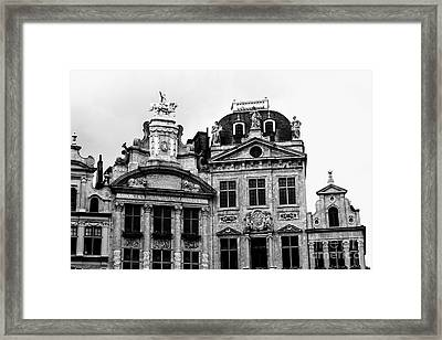 Dramatic Grand Place Building Black And White Framed Print