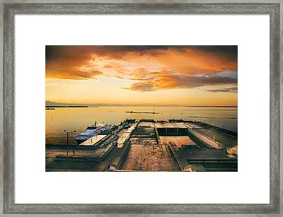 Dramatic Hdr Sunset With Harbor And Sea Framed Print by Sandra Rugina