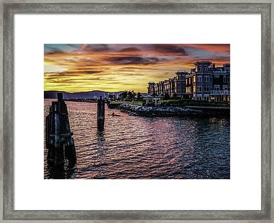 Dramatic Hudson River Sunset Framed Print