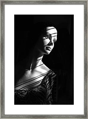Framed Print featuring the photograph Dramatic Lucy In Black And White by Nareeta Martin