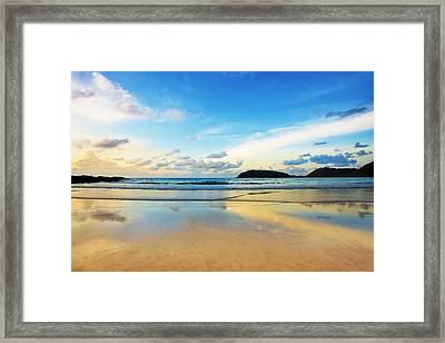Dramatic Scene Of Sunset On The Beach Framed Print