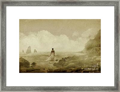 Dramatic Seascape And Woman Framed Print