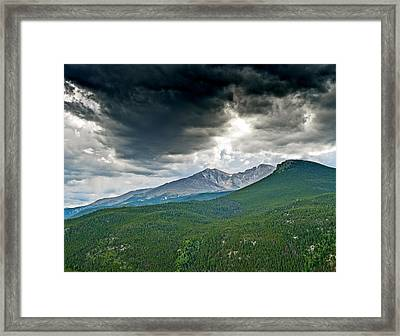Dramatic Skies In Rocky Mountain National Park Colorado Framed Print by Brendan Reals
