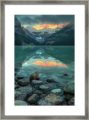Framed Print featuring the photograph Dramatic Sunrise At Lake Louise by Pierre Leclerc Photography