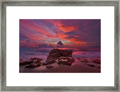 Dramatic Sunrise Over Coral Cove Beach In Jupiter Florida Framed Print