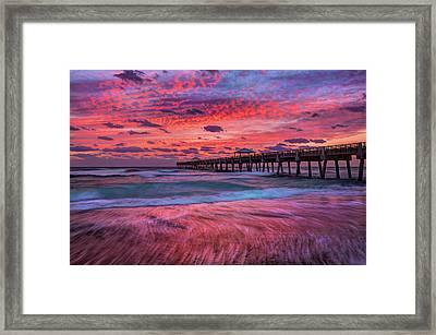 Dramatic Sunrise Over Juno Beach Pier, Florida Framed Print