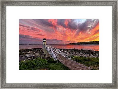 Dramatic Sunset At Marshall Point Lighthouse Framed Print