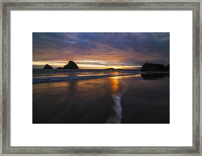 Dramatic Sunset At Ocean Side Beach Framed Print