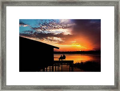 Dramatic Sunset On The Lake Framed Print by Shelby  Young