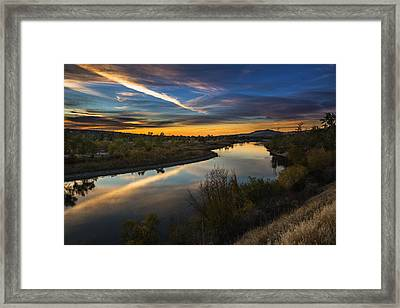 Dramatic Sunset Over Boise River Boise Idaho Framed Print by Vishwanath Bhat
