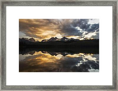 Dramatic Sunset Over Sawtooth Mountain Range In Stanley Idaho Framed Print