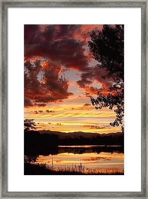 Dramatic Sunset Reflection Framed Print