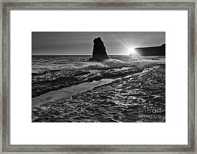 Dramatic View Of A Sea Stack In Davenport Beach, Santa Cruz. Framed Print