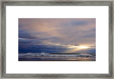 Dramatic Wave Sunrise Framed Print