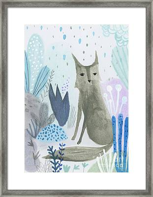 Dramatic Wolf In The Rain Framed Print by Kate Cosgrove