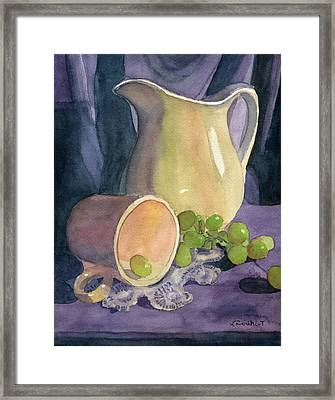 Drapes And Grapes Framed Print by Lynne Reichhart