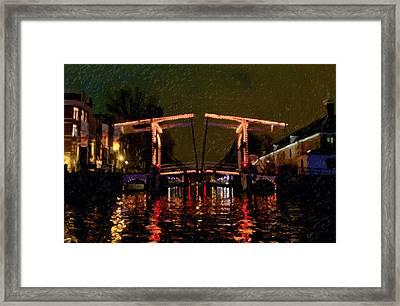 Drawbridge Over Amsterdam Canals Framed Print