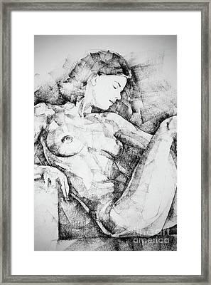 Drawing Beautiful Girl Figure Framed Print