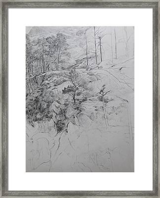 Drawing By Ogwen. Framed Print by Harry Robertson