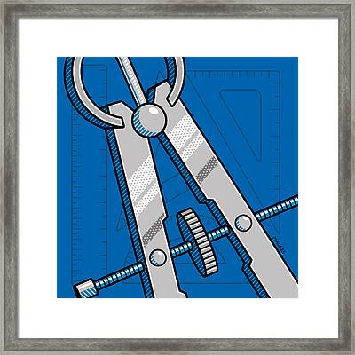 Framed Print featuring the digital art Drawing Compass by Ron Magnes
